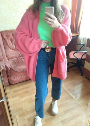 Розовый теплый кардиган