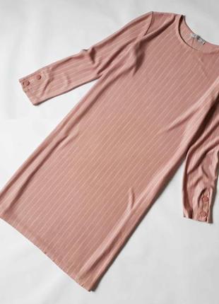 Стильное платье в полоску пудрового цвета  bershka