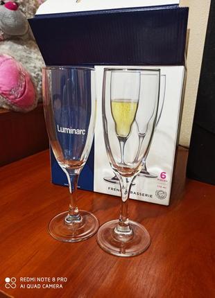 Набор бокалов для шампанского luminarc, 170 мл, 6 шт. супер подарок