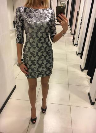 Красивое серебряное платье из пайеток river island. размер 34 xs.