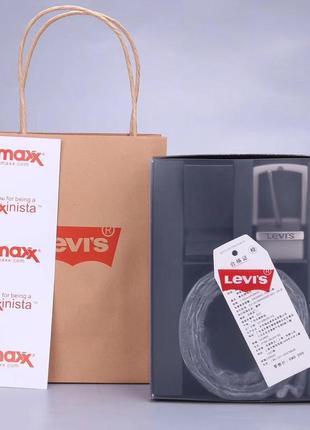 Levis мужской ремень на подарок двусторонний чёрные / коричневый 2 пряжки набор