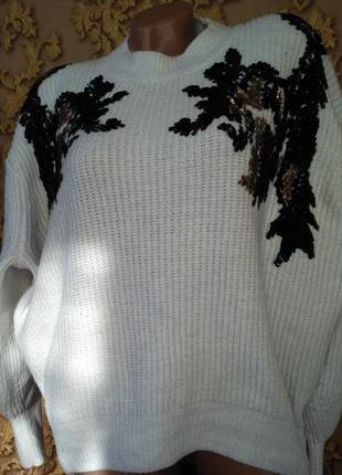 Белый свитер оверсайз с паетками белий h&m
