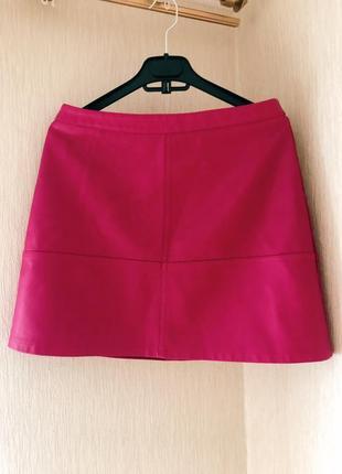 Кожаная юбка малинового цвета new look