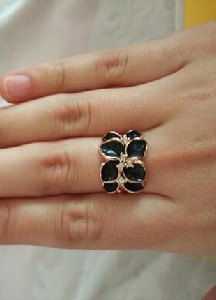 Кольцо чёрная орхидея размеры в наличии 16 и 17