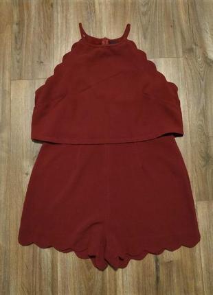 Бордовый нарядный комбинезон ромпер с ажурными краями / горячая цена! скидки!