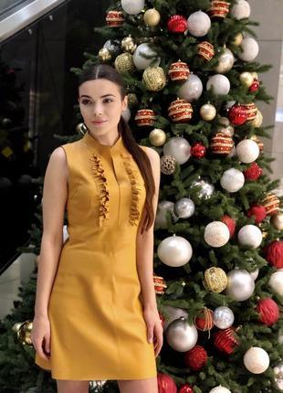 Скидка к 8 марта! красивезное платье горчичного {желтого} цвета