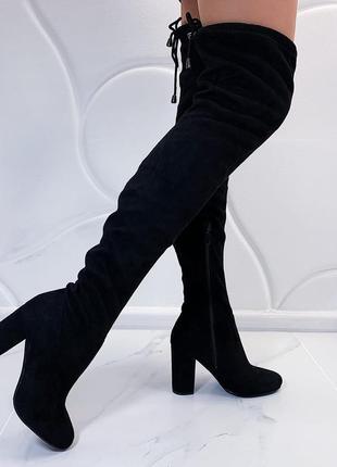 Замшевые сапоги ботфорты на каблуке, демисезонные высокие ботфорты
