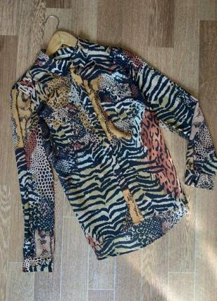 Трендовая блуза рубашка в анималистический принт