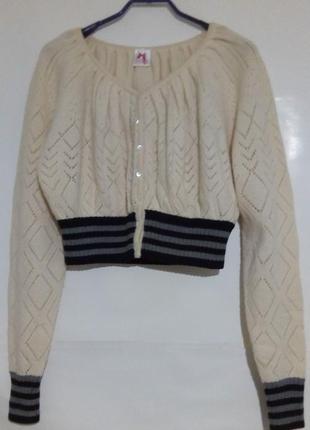 Шикарная теплая укороченная кофта, кардиган на пуговицах, ажурная вязка, scee twin set