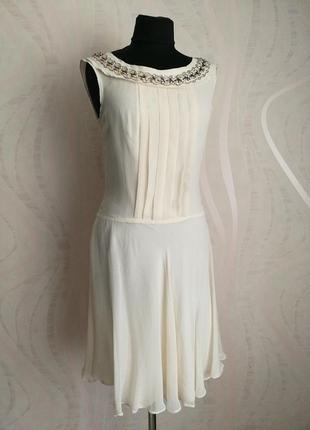 Нюдовое шелковое платье для особых случаев,нарядное,trinny & susannah