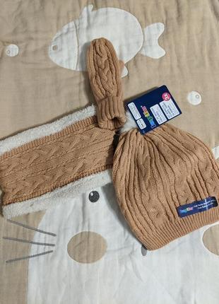 Отлично на подарок! набор шапочка, хомут и варежки. lupilu 1-5 лет