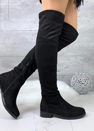 Замшевые сапоги ботфорты на низком каблуке,демисезонные высокие ботфорты