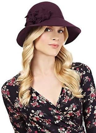 56-57см m&s округлая шляпа с широкими полями шляпка слауч флоппи винтаж с декором