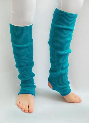 Вязаные детские гетры для танцев 35 см голубой
