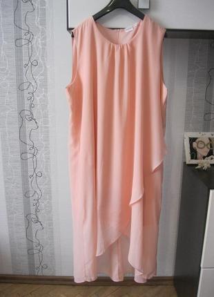 Самое модное нюдовое платье шифоновое двойное асиметрия по низу большой батал