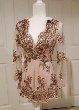 Платье комбез ромпер с пайетками новогодний