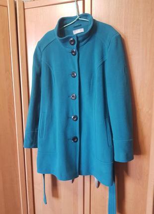 Шерстяное пальто, новое пальто, бирюзовое, цвета морской волны, большое пальто, xl
