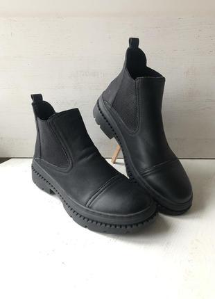 Новые мужские зимние кожаные ботинки челси {chelsea boots} большой размер