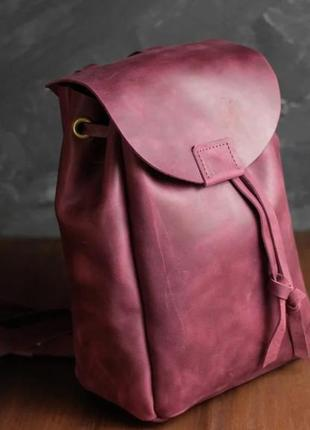 Кожа. ручная работа. кожаный рюкзак. бордовый рюкзачок. цвет марсала