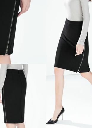 Классическая юбка карандаш с кожаной вставкой и молниями по бокам