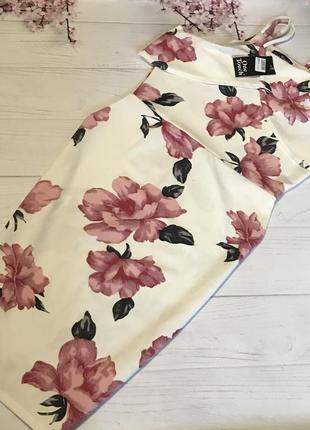 Платье миди волан шикарное цветы новое