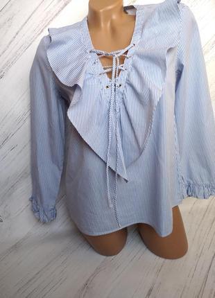 Классическая блуза в полосочку на шнуровке от stradivarius size s