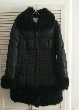 Пуховик/пальто женское с мехом козлика/эксклюзивное