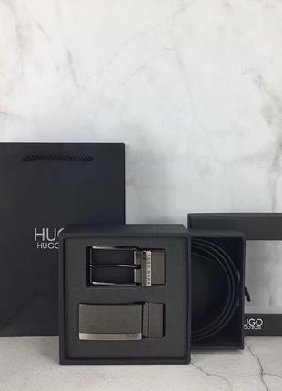 Мужской подарочный набор hugo boss двухсторонний чёрный коричневый