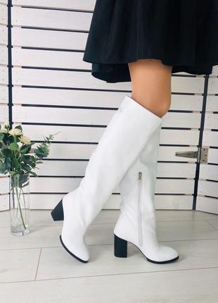 Lux обувь! белые зимние натуральные высокие сапоги трубы на каблуке
