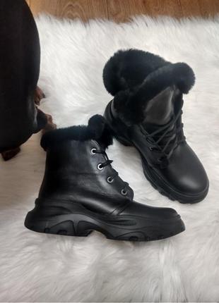 Топ 2020 кожаные ботинки с опушкой зимние и демисезонные