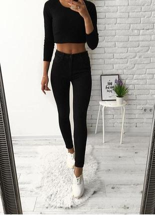 Женские джинсы скини черные