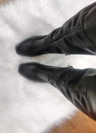 Сапоги высокие ботфорты чулок зимние и демисезонные на любой подъем и полную ногу