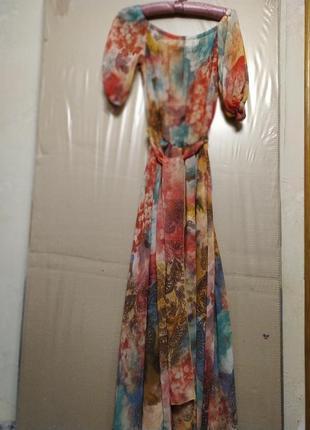 Шикарное длинное шифоновое платье