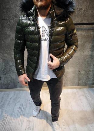Мужская нейлоновая куртка stone island haki / парка куртка зимняя / маломерка! стон исланд