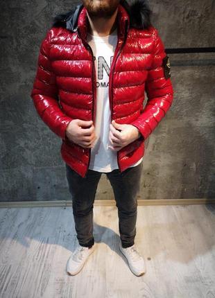 Мужская нейлоновая куртка stone island red / парка куртка зимняя / маломерка! стон исланд