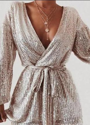 Платье пиджак пайетками пайетка мини сверкающее праздничное на запах новый год металик