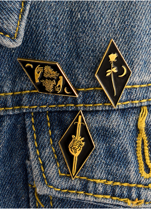 Набор значков-пинов эмалевых в готическом стиле enamel witch pin