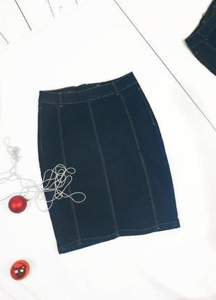 Юбка на молнии джинсовая карандаш
