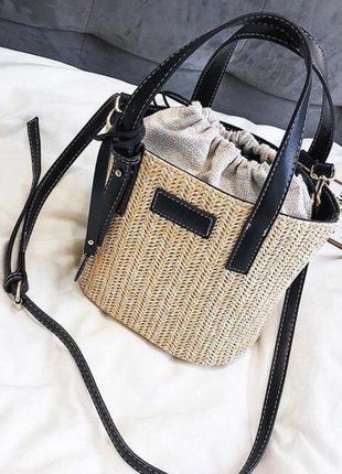 Соломенная сумка, сумка- ведро, сумка кроссбоди