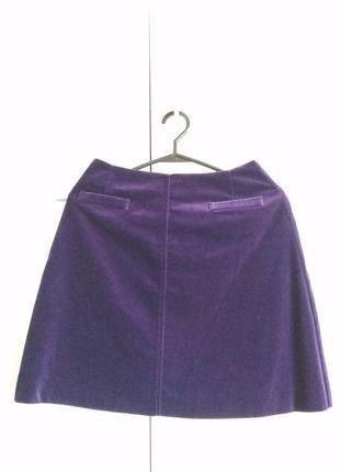 Фиолетовая , бархатная, вельветовая юбка