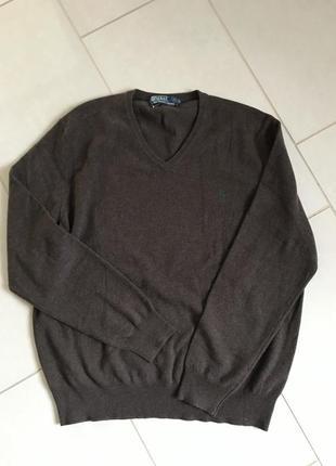 Пуловер шерстяной мужской стильный модный дорогой бренд ralph lauren размер xl