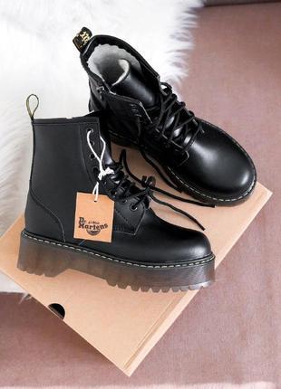 Dr. martens jadon black/brown зимние ботинки на платформе кожа/мех