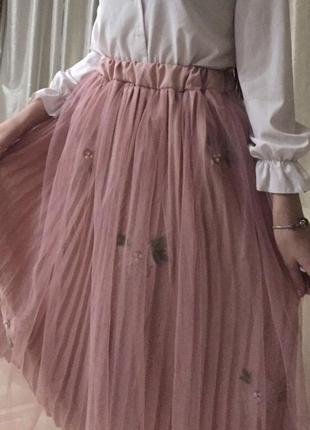 Плиссированные юбка гофре с фатином