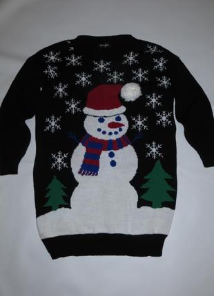 Новогодний удлиненый свитер со снеговиком