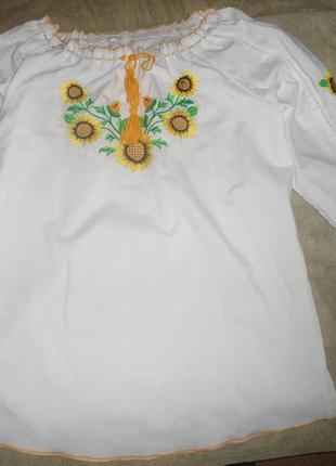 Рубашка вышиванка с подсолнухами , xl