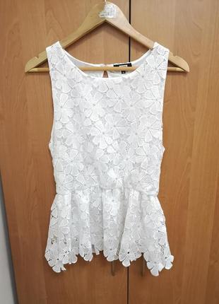 Белая ажурная кружевная летняя блузка майка