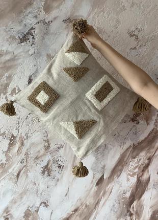 Декоративная стильная геометрическая подушка ручной работы