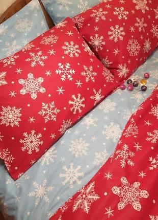 Снежинки микс - новогоднее турецкое постельное белье