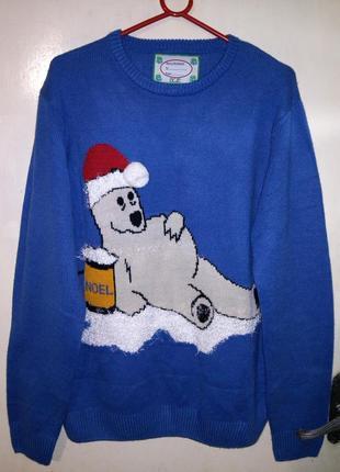 Красивый,тёплый,новогодний свитер,большого18-24 размера,унисекс,primark