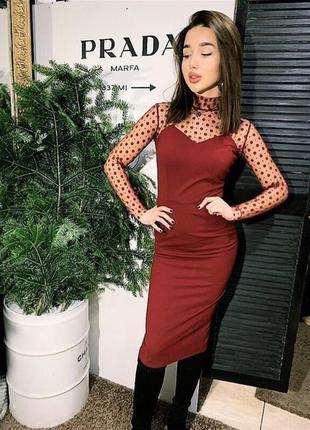 Платье сетка горох